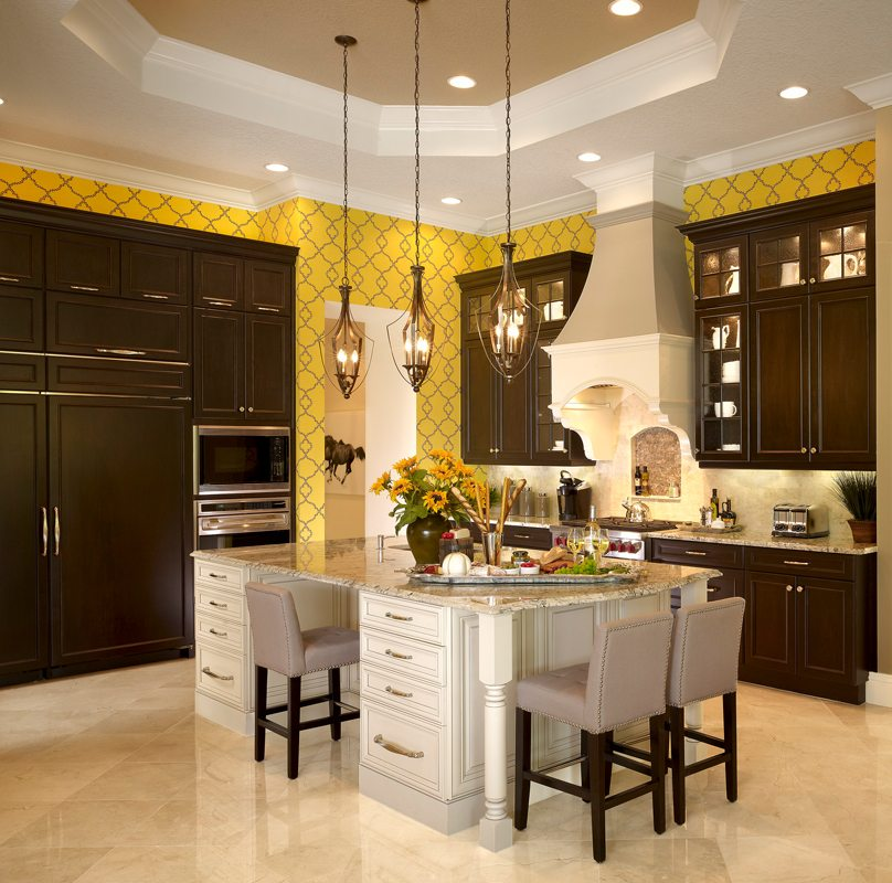 Chef's Kitchen with Custom Hood with Corbels and Custom Cabinets
