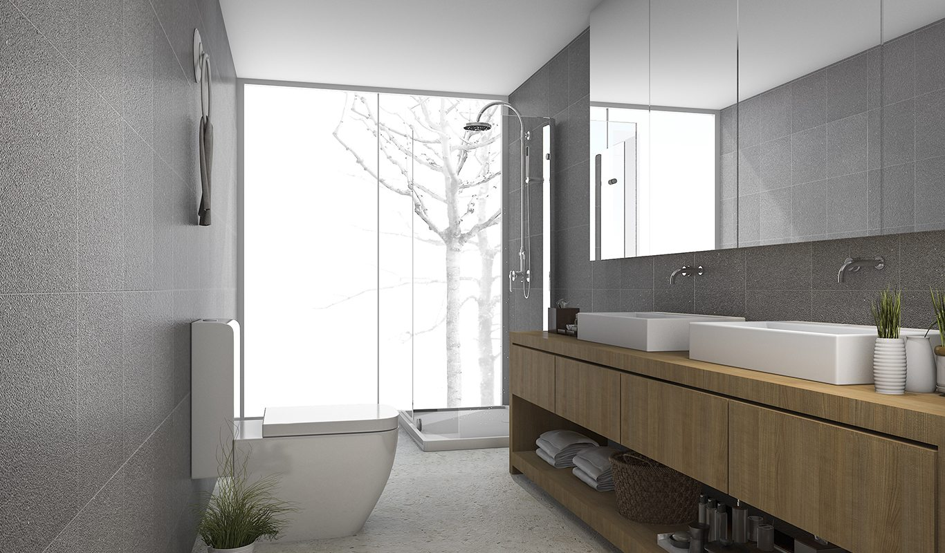 Contemporary Bathroom with high end custom cabinets