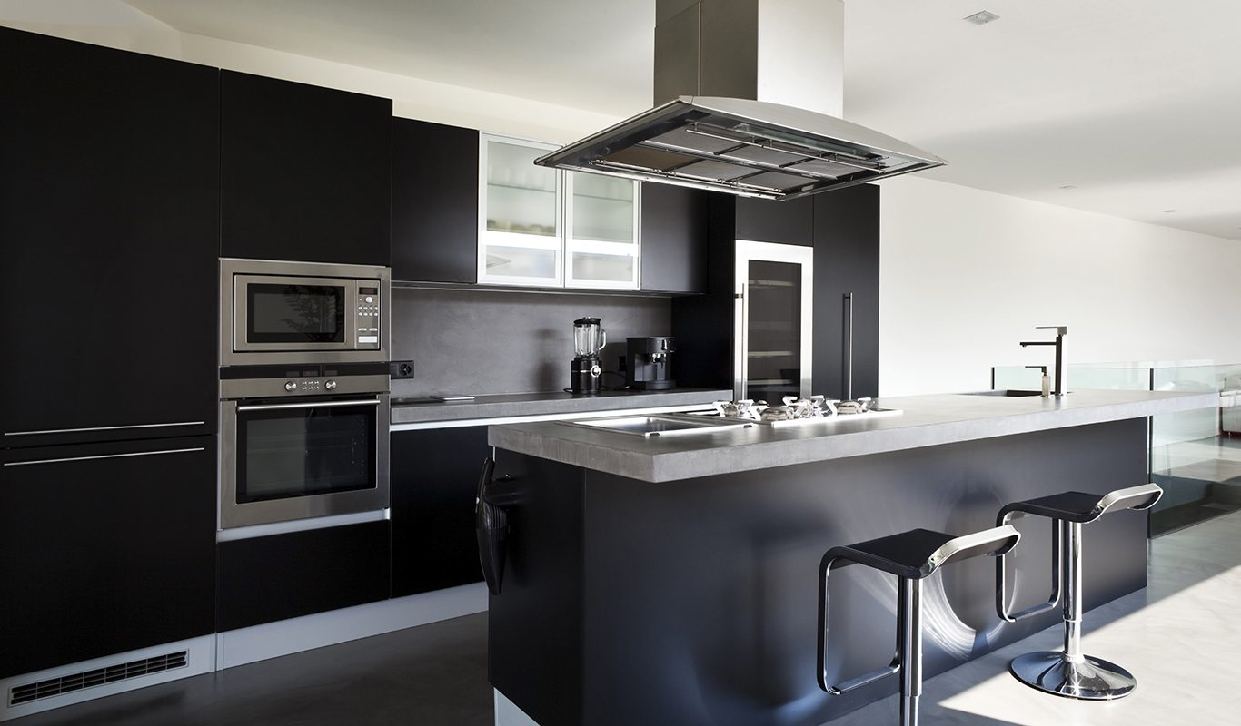 Contemporary Kitchen with Matte Black Cabinets