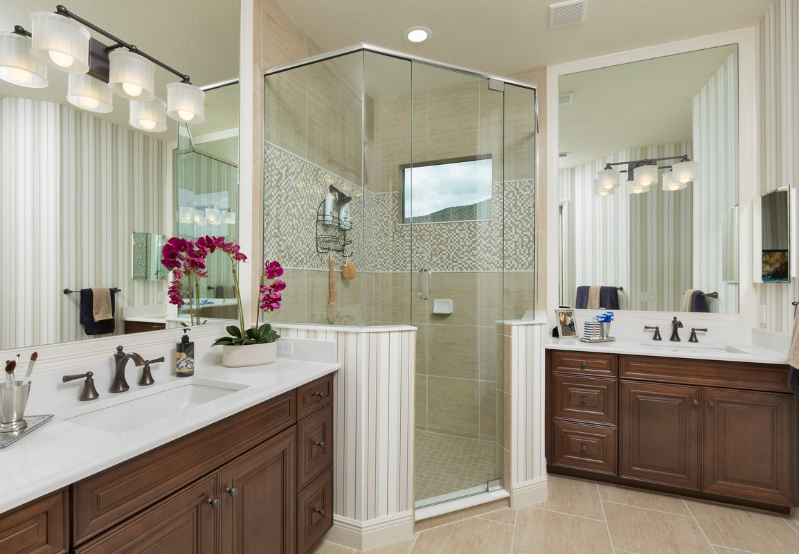 Traditional Bathroom with Raised Panel Custom Cabinets