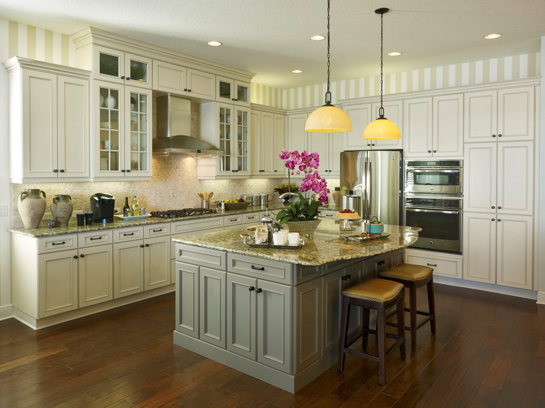 Transitional Epicurean Style Kitchen 8 lite Mullions and Built ins